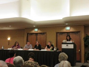 Simon talking sex in fiction with Jess Lourey, Linda Joffe Hull, Holly West and Chelsea Cain at the 2015 Left Coast Crime--Portland