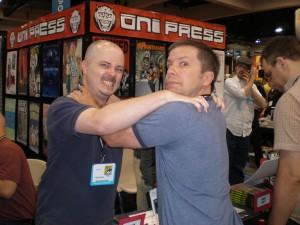 Simon and comic book writer Cullen Bunn congratulating each other on each other's success.