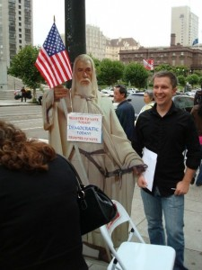 Simon with Gandalf before his citizenship swearing in, in 2007.