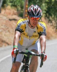 Simon competing on the bike.